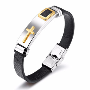 JHSL Brand Men punk PU leather bracelet & bangles Black Brown gift for boyfriend stainless steel cross charm fashion jewelry