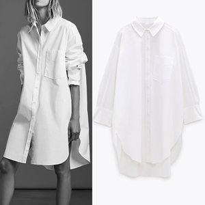 Pseewe ZA Camisa blanca de gran tamaño Mujeres 2020 otoño manga larga collared botón arriba camisas largas damas dobladillo asimétrico Tops casuales Q0112