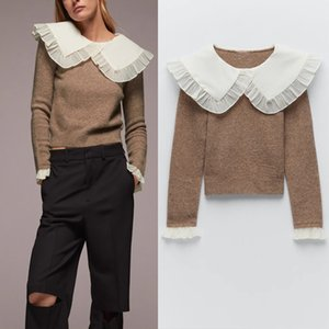 Za Autumn Women Ruffle Knit Sweater Ladies Fashion Peter Pan Collar Long Sleeve Combination Pullover Female Casual Knitted Top 201120