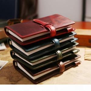 Ipben 100% Genuine Vintage Vintage Viajantes Notebook Laço Diário Jornal Handmade Cowhide Presente Caderno de Viagem Livre gravura