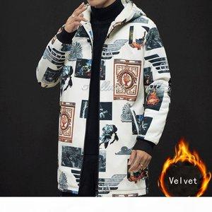 New winter Men fashion bigger sizes printing Fleece trench Plus velvet thicken coat Medium long trench coat male Chinese style