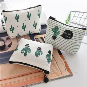 Creative Cactus Pencil Case Purse Canvas Portable Pen Money Wallet Stripe Zipper Pouch Pocket Keyring Gift Pencil Bag DHB4717