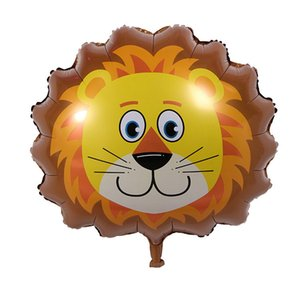 Hot Sale Animals Balloon Mini Cartoon Lions Tigers Cows Monkeys Head Handheld Aluminum Film Balloon Children Toy Gift
