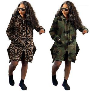Casacos Femininos Loose Longa Manga Com Capuz Drawstring Zipper Casacos Outono Sakeboard Mulheres Longa Outerwear Camuflagem Trench Leopard