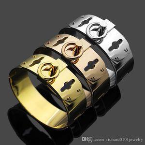 316L Titanium Steel Gold bangles silver rose gold Punk cuff bracelets for Women and men 2cm width hip hop Jewelry Top Quality