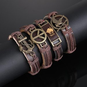 Antique Bronze Colored Handmade Woven Bracelets For Men Classic Anchor Charm Bracelet Plaited Knitted Leather Rope Wrist Band