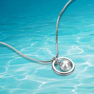 Dankadi Einfache Stil Box Kette Perle Anhänger Runde Halsketten 925 Sterling Silber Für Frauen Punk Party Collier1