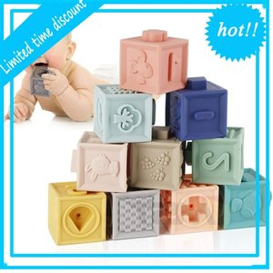 Mini Tudou 12 stücke Silikon Sensorie Spielzeug Montessori Spielzeug Zähkerwürfeln Würfel Weiche Bausteinpflaster Baby Blöcke
