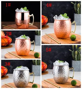 Stainless Steel Beer Cup Copper Mug Moscow Mule Mug Rose Gold Hammered Copper Plated Drinkware