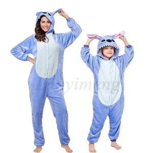 New Stitch Onesies Adult Pajamas Unisex Blue Pink Stich Cosplay Party Wear Anime Pijama Boys Girls Pyjamas Kids Women Sleepwear Q1203