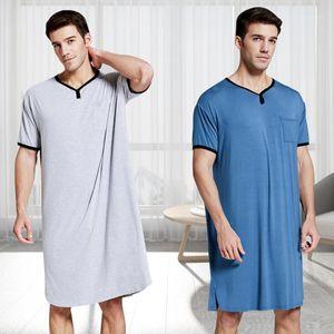 Mens Pajamas Men Sleepwear Summer Thin Lengthened Loose T Shirt Tops Robes Man Solid Color Comfortable Home Nightwear M61