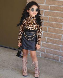 Ins Kinder Frühling Fall Outfits Mädchen Leopardenkragen Langarm T-Shirt + Rüschen Hohe Taille Röcke 2pcs Lady Style Kind Sets A5267ren