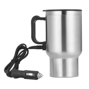 500ML 12V Portable Cup Kettle Travel Coffee Mug Electric Stainless Steel With Cigar Lighter Cable Car Water Keep Warmer Kettle