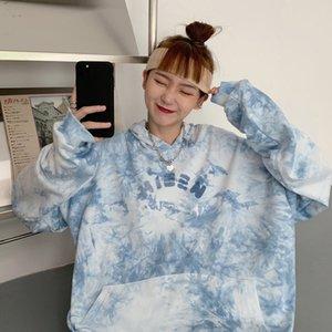 Autumn Oversized Hoodie Thin Sky Blue Splash ink Tie-dye Printed Hoodies Women Casual Pocket Long Sleeve Sweatshirt Top Z1214