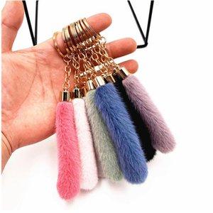 Bonito borla pelúcia keychain bolsa de desenhos animados carro pingente chaveiro anel ornamentos acessórios presentes criativos gwa3258