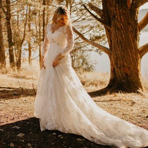 Hot Sale Plus Size Lace Wedding Dresses Beaded A Line V Neck Sequined Long Sleeves Bridals Gowns Court Train Appliqued vestidos de noiva