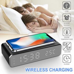 Novo LED elétrico LED Relógio com telefone celular carregador sem fio HD espelho de relógio com tempo de memória digital relógio 201120