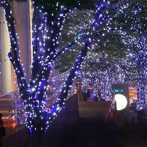 22 м светодиодный сад струны сказочные огни уличных уличных гирлянды украшения для елки квадратный свадьба солнечная энергия движения Y201020