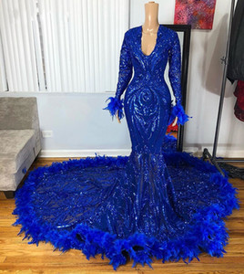 African Black Girl Royal Blue Long Prom Dresses 2021 Stunning Sequin Long Sleeves Feathers Mermaid Prom Dress