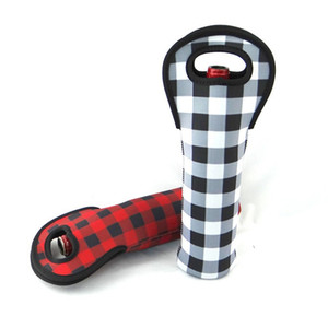 Neoprene Red Check Wine Holder Shock Proof Printed Buffalo Plaid Cooler Covers Durable Bottle Sleeve Black White 5 8ny BB