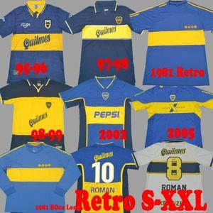 97 98 Boca Juniors Retro 1981 Soccer Jersey Maradona Roman Gago 97 99 كرة القدم قميص 2001 2002 2005 Camiseta Futbol خمر طويل 81 Riquelme