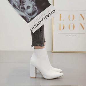 Ltarta Herbst Frauen Mid Calf White Point Toe Stiefel High Heels Mode Booties Frauen Stiefel Weiß Für Damen ZL-Qs048 201124