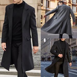 2021 Winter Men Coats Woolen Solid Long Sleeve Jackets Fleece Men Overcoats Streetwear Fashion Long Trench Wedding Tuxedos