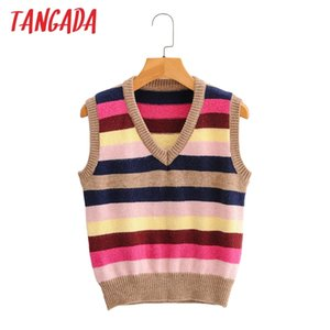 Tangada Women Fashion Colorful Striped Short Knitted Vest Sweater v Neck Sleeveless Female Waistcoat Chic Tops Sy32 Y201128
