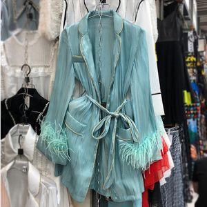 [EWQ] 2020 Spring New Sweet Long Sleeve Women Long Sleeve Loose Shirt Coats With Feather Belt Tops Korea Womens Green Blouses