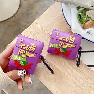 لطيف 3d الغذاء رقائق البطاطس القضية ل airpods 2 شحن قذيفة سماعة غطاء صندوق غطاء لحماية airpods الموالية 3 funda