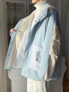 Plus Taille Hiver Hommes Patchwork Silk Silk Silk - Coton rembourré Parka Manteau en vrac Casual Casual Outwear à capuche B18