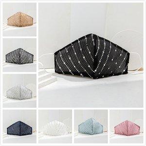 8 couleurs Masques Sequin visage mince coton pour les femmes en tissu respirant anti-poussière Sun creen Lavable réutilisables masques Masque Designer DHB354