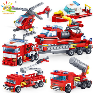 HUIQIBAO 348pcs Fire Fighting 4in1 Trucks Car Helicopter Boat Building Blocks City Firefighter Figures Man Bricks Children Toys Y1127