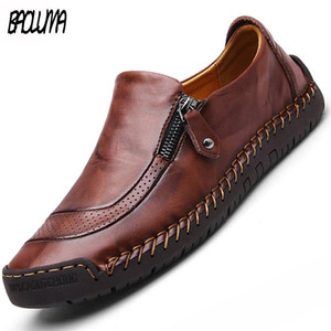 Classic Men Casual Shoes High Quality Leather Men Loafers Flat Spring Autumn Mans Moccasins Shoes Breathable Men&#39s Flats