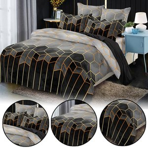 Bronzing Plaid Bedding Sets Duvet Cover Queen king Size Solid Color Quilt Cover Luxury Bedclothes Home Decoration