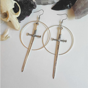Gothic Swords Metal Hoop Earrings Witchy Warior Pagan Vikin Aternative Medieval Classic Tarot CARDS Gift Women Novelty 2021 New
