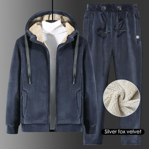 Thicken Men Sets Winter Sportswear Suit Sweatshirt Sweatpants Mens 2 Pieces Sets Plus Size Lamb Wool Jogging Tracksuit 8XL