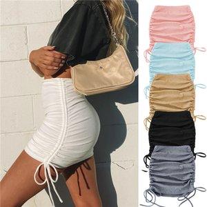 모든 계절 Drawstring Pleated Skirt Rib Knit 미니 짧은 스커트 엉덩이 포옹 스트레치 바디 콘 드레스 패션 파티 클럽 바 의류 LY120703