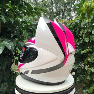 Free Shipping Full Face Motorcycle Helmets Single Visor Racing Helmet Lovely Cat Off Road Helmet ECE Approved