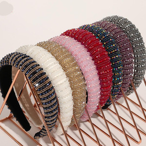 29 Colors High-End Lady Sponge Headband Wide-Sided Fashion Rhinestone Handmade Beaded Woman Hair Band Korean Crystal Girl Hair Accessories