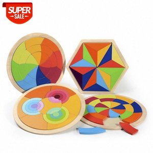 Geometric puzzle palette round rainbow puzzle wooden toys children Montessori early education enlightenment fun educational toys #JZ4t