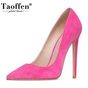 Taoffen Western Brand Women Pumps Flock Leather Shallow Shoes Women Office Lady Work Daily Soft Wedding Footwear Size 35-45