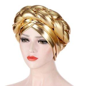 Hanxi New Luxury Sponge Twist Turban Bonnet para mujeres Hat Beanie Lady Fashion Shelly Headwear