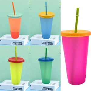 Water Color Changing Cups Temperature Sensing Clear Coffee Mug Straw Plastic Tumbler Reusable With Lid Circular Household 5hb B2