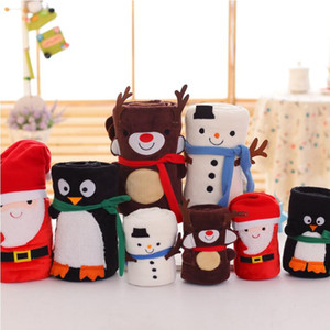 Cartoon Christmas Flannel Blanket Foldable Santa Claus Snowman Penguin Deer Pattern Carpet Washable Keep Warm Soft Throw Blankets WQ05