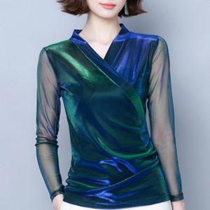 See Through Top Women Sexy Shirt Blusas Mujer De Moda 2021 Long Sleeve V-neck Blouse Women 3XL 4XL Plus Size Women Tops C224 Q0112