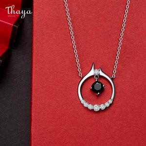 Thaya S925 серебряное круглое колесо концепция колье цепи кулон серебряное черное белое Zircon ожерелье для женщин изысканные украшения подарок F1202