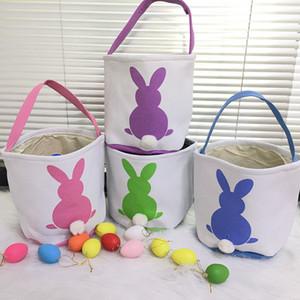 Nova cesta de Páscoa de coelho personalizado coelhinho da Páscoa sacolas Baldes de lona de cestas DIY DIY Decoração de festa de Páscoa 08
