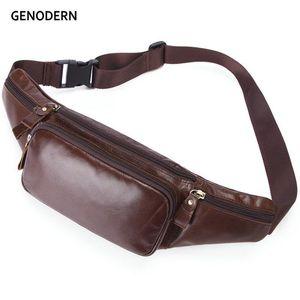 GENODERN hombres de la vendimia paquete de la cintura de cuero auténtico bolso masculino de Pecho Cintura Bolsa Retro Hombres Top Bolsas