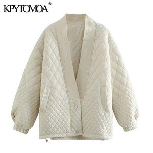 KPYTOMOA Women Fashion Oversized Parkas Argyle Jacket Padded Coat Vintage Long Sleeve Pockets Female Outerwear Chic Tops 201125